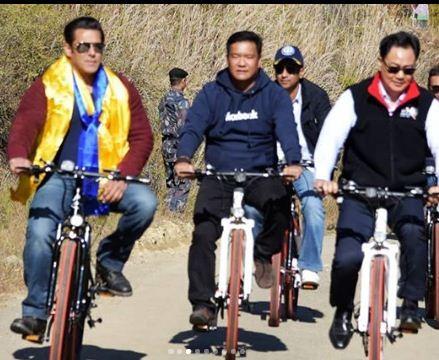 445a0c855 Salman Khan goes cycling with Kiren Rijiju, Pema Khandu in Arunachal (WATCH)